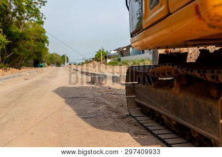Excavator Construction Equipment Of Street Construction. Business Construction. Construction Site On