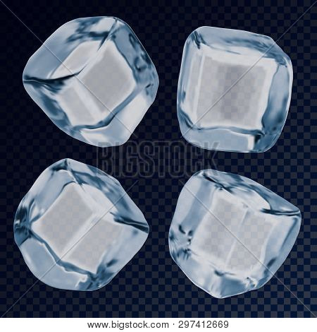 Falling Ice Cube Or Icy Blocks For Background. Iced Solid Liquid Or White And Blue Object For Cold D