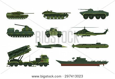 Set Of Isolated Military Vehicle Icons. Tank And Aircraft, Helicopter And Submarine, Boat Or Frigate