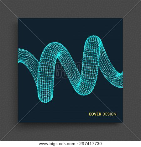 Cover Design Template. Spiral. Connection Structure. Abstract Grid Design. 3d Vector Illustration Fo