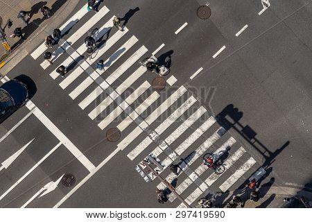 Tokyo, Japan - Feb 2019 : Top View Of Pedestrians Crowd Undefined People Walking Overpass The Street