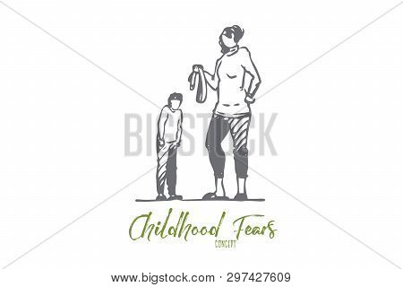 Son, Mom, Belt, Punishment, Angry, Fear Concept. Hand Drawn Mother Punish Son With Belt Concept Sket