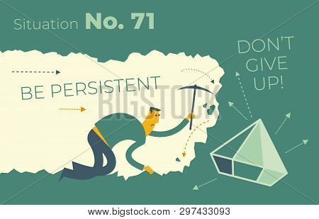 Flat Design Illustration For Presentation, Web, Landing Page: A Man Digs In A Tunnel Trying To Get T