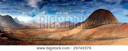 Fantastic mountain scenery landscape, Fuerteventura, Spain