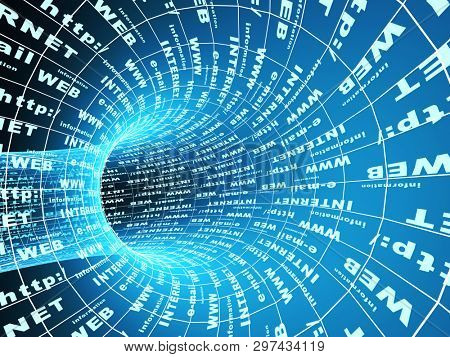 Abstract tunnel of blue color with Internet symbols. 3d render