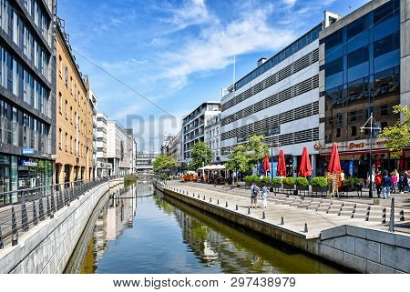 Aarhus, Denmark - July 20, 2017: Promenade Along The River Aarhus A In The City Center Of The Town O