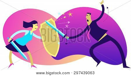 Flat Design Illustration For Presentation, Web, Landing Page: A Man Attacks With A Sword On A Woman.