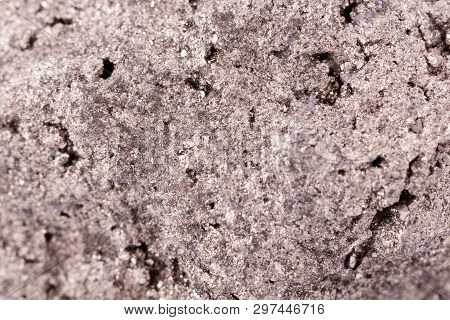 Macro Mineral Pyrite Stone On White Background Close Up
