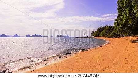 Panorama View Of The Beautiful And Calm Beach On Shinty Day, Yao Noi Islands, Phang Nga Province, So