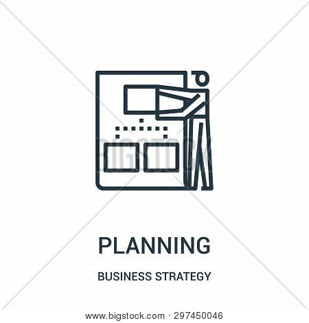 Planning Icon Isolated On White Background From Business Strategy Collection. Planning Icon Trendy A