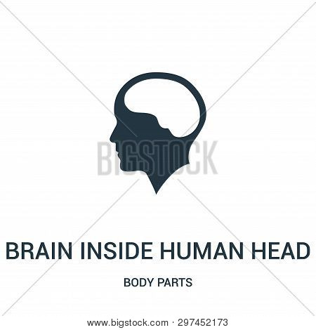 Brain Inside Human Head Icon Isolated On White Background From Body Parts Collection. Brain Inside H