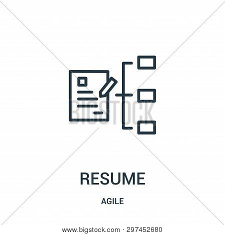 Resume Icon Isolated On White Background From Agile Collection. Resume Icon Trendy And Modern Resume