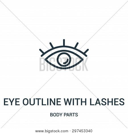 Eye Outline With Lashes Icon Isolated On White Background From Body Parts Collection. Eye Outline Wi