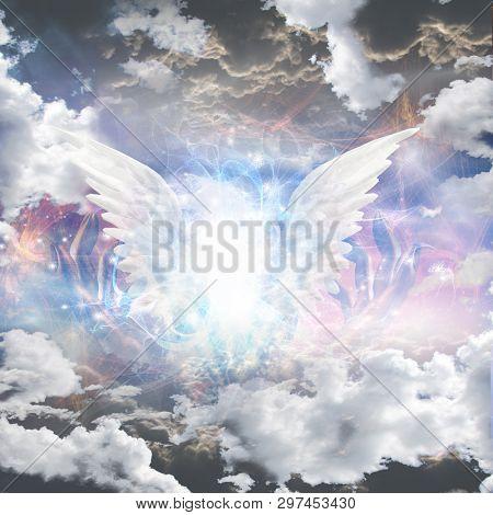 Angel of light. Glowing white wings in clouds. 3D rendering
