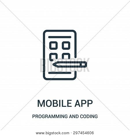 Mobile App Icon Isolated On White Background From Programming And Coding Collection. Mobile App Icon