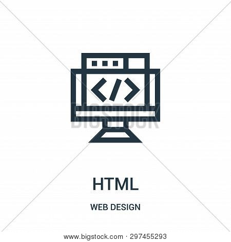 Html Icon Isolated On White Background From Web Design Collection. Html Icon Trendy And Modern Html