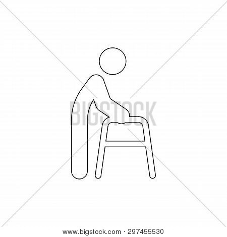 Human Utensils Walker Tools Outline Icon. Signs And Symbols Can Be Used For Web, Logo, Mobile App, U