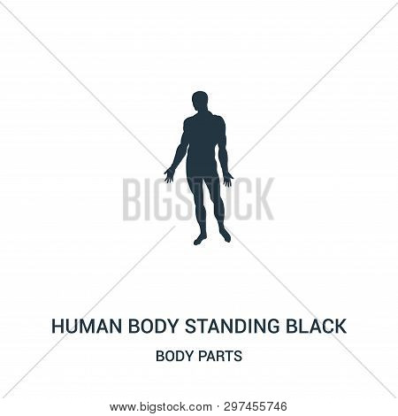 Human Body Standing Black Silhouette Icon Isolated On White Background From Body Parts Collection. H