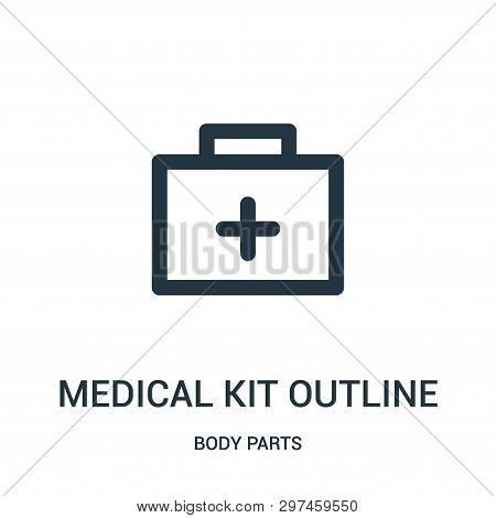 Medical Kit Outline Icon Isolated On White Background From Body Parts Collection. Medical Kit Outlin