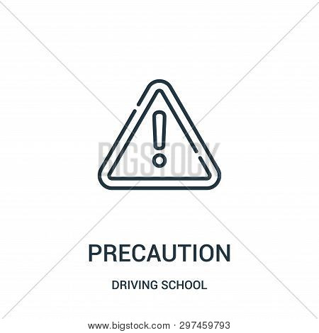 Precaution Icon Isolated On White Background From Driving School Collection. Precaution Icon Trendy