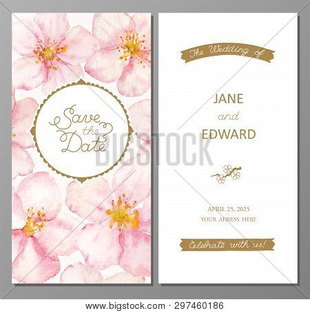 Watercolor Floral Card, Wedding Invitation. Can Be Used For - Save The Date, Mothers Day, Valentines