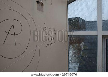 Graffiti on a wall saying