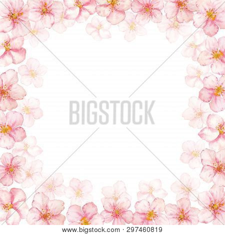 Floral Vector Frame With Cherry Or Sacura Flowers. Can Be Used For - Save The Date, Mothers Day, Val