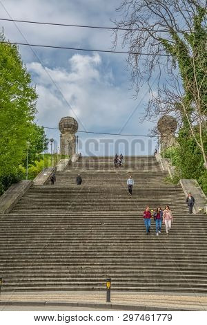 Coimbra / Portugal - 04 04 2019 : Monumental Stairway View