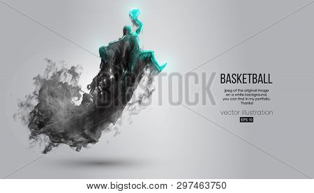 Abstract Silhouette Of A Basketball Player On White Background From Dark Dust, Smoke, Steam. Basketb