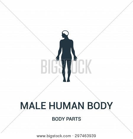 Male Human Body Silhouette Variant Icon Isolated On White Background From Body Parts Collection. Mal