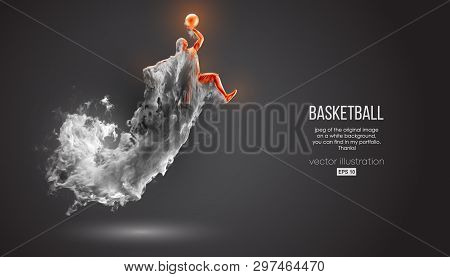 Abstract Silhouette Of A Basketball Player On Dark Black Background From Dust, Smoke, Steam. Basketb