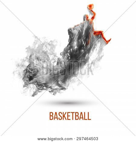 Abstract Silhouette Of A Basketball Player On White Background, Isolated From Dust, Smoke, Steam. Ba