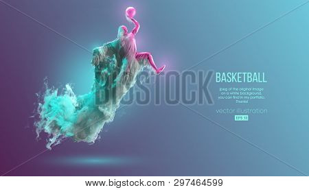 Abstract Silhouette Of A Basketball Player On Pink And Green Background From Dust, Smoke, Steam. Bas