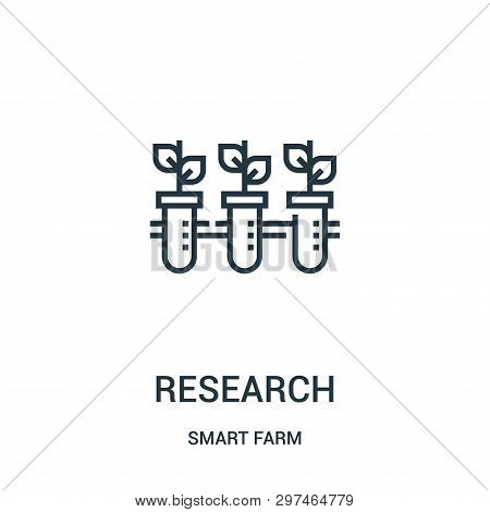 Research Icon Isolated On White Background From Smart Farm Collection. Research Icon Trendy And Mode