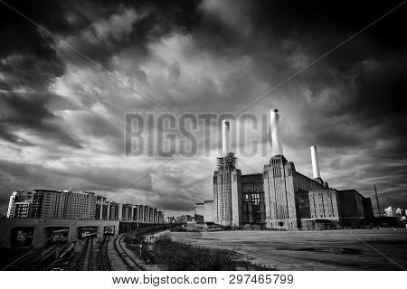 View Of Battersea Power Station Before Major Redevelopment, Battersea, London, Uk - March 2013