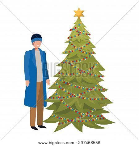 Man With Christmas Tree Avatar Character Vector Illustration Desing