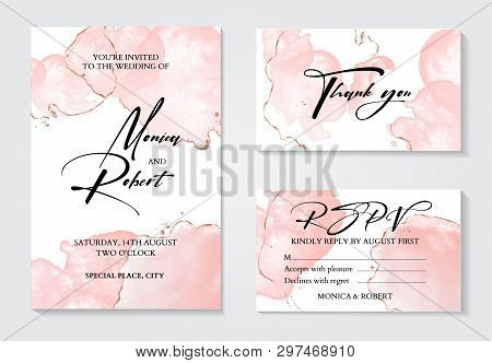 Romantic Tender Rose Gold Brush Stroke Watercolor Background With Glitter Foil. Luxury Invitation De