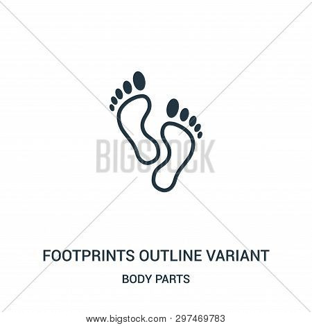 Footprints Outline Variant Icon Isolated On White Background From Body Parts Collection. Footprints