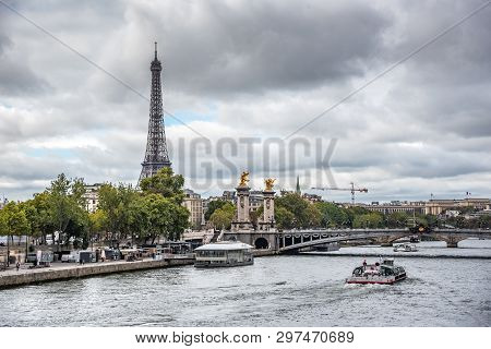 Paris, France - September 24, 2019: View Of The Eiffel Tower And The Senna River In Paris, France.
