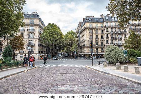 Paris, France - September 24, 2019: View Of The Street In Paris, France. Paris Is One Of The Most Po