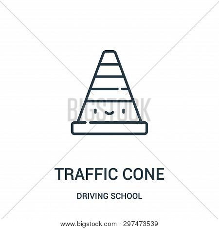 Traffic Cone Icon Isolated On White Background From Driving School Collection. Traffic Cone Icon Tre