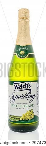 Winneconne, Wi -  19 April 2019: A Bottle Of Welchs Sparkling White Grape Juice Cocktail On An Isola