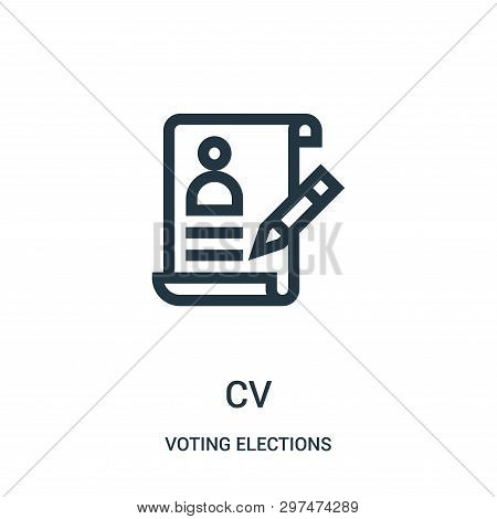Cv Icon Isolated On White Background From Voting Elections Collection. Cv Icon Trendy And Modern Cv
