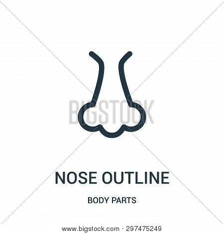 Nose Outline Icon Isolated On White Background From Body Parts Collection. Nose Outline Icon Trendy