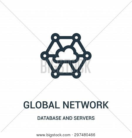 Global Network Icon Isolated On White Background From Database And Servers Collection. Global Networ