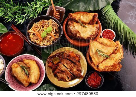 Assorted Chinese Food Set. Chinese Noodles, Fried Rice, Peking Duck, Dim Sum, Spring Rolls. Famous C