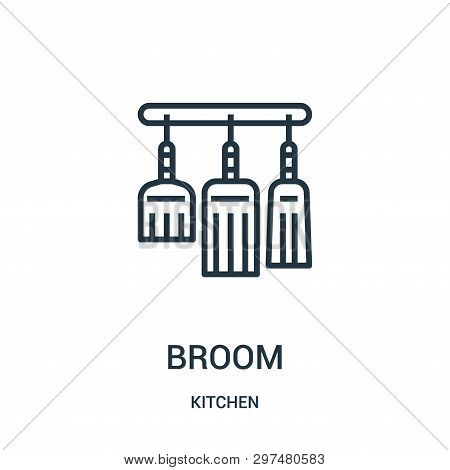 Broom Icon Isolated On White Background From Kitchen Collection. Broom Icon Trendy And Modern Broom