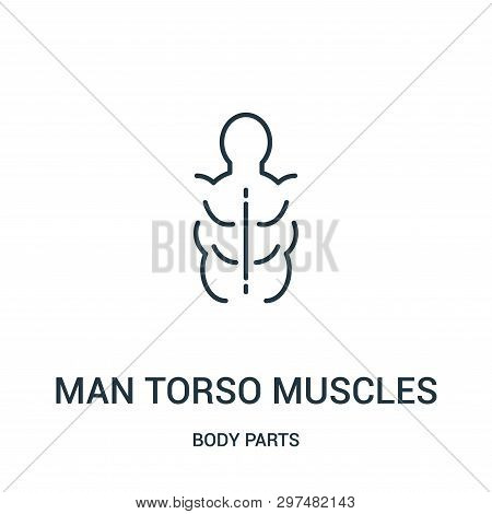 Man Torso Muscles Icon Isolated On White Background From Body Parts Collection. Man Torso Muscles Ic