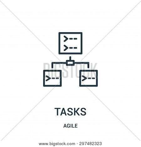 Tasks Icon Isolated On White Background From Agile Collection. Tasks Icon Trendy And Modern Tasks Sy