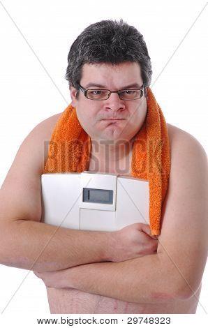 Fat Man Doing Workout